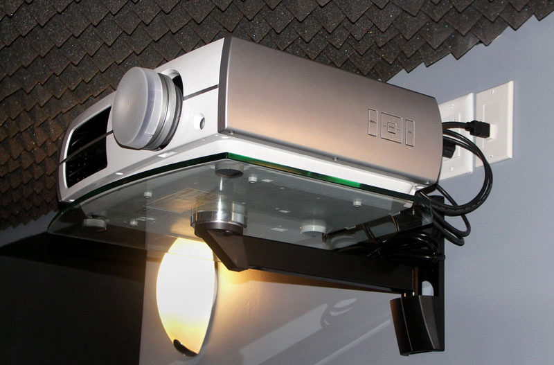projector on a wall mounted shelf u2014 electrical outlet u0026 hdmi wall connection - Projector Wall Mount